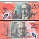 ธนบัตรประเทศ ออสเตรเลีย AUS-59ชนิดราคา 20 DOLLARS (ดอลลาร์) ยังไม่ใช้