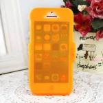 เคสไอโฟน 5C (TPU CASE) คลุมรอบเครื่องแบบด้านใส สีส้ม ปิดปกหน้า Touch ได้