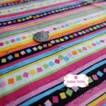 ผ้าคอตตอน 100% 1/4 ม.(50x55ซม.) ลายทางโทนสีชมพู