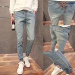 *Pre Order* กางเกงยีนส์แฟชั่นผู้ชาย เอวยืด-ขาจั๊ม size S-2XL