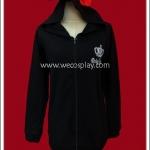 เสื้อแจ๊คเก็ตพังค์ Punk Jacket แขนยาว สีดำ มีฮู้ดหูแมวติดโบว์แดง