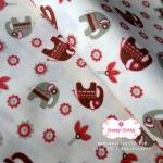 ผ้าคอตตอน 100% 1/4 ม.(50x55ซม.) พื้นสีครีม ลายช้าง