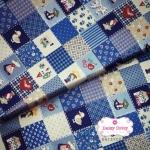 ผ้าคอตตอนไทย 100% 1/4 ม.(50x55ซม.) ลายตารางน้องซู โทนสีฟ้าเข้ม