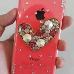 เคสไอโฟน 5C (Hard Case) กรอบใสประดับเพชรรูปหัวใจ