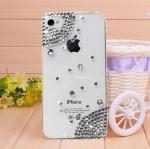 เคสไอโฟน 4/4s (Case iphone 4/4s) เคสไอโฟนกรอบโปร่งใสประดับเพชรเรียบหรูมุมขอบ