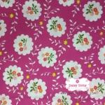 ผ้าคอตตอนไทย 100% 1/4 เมตร สีชมพูเข้ม ลายดอก
