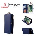 เคสไอโฟน 7 Plus กระเป๋าหนังอเนกประสงค์ 2 In 1 กระเป๋าตังค์+เคสโทรศัพท์ สีน้ำเงิน
