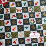 ผ้าคอตตอนไทย 100% 1/4 ม.(50x55ซม.) ลายตารางคริสมาสต์ โทนสีเขียว