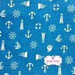 ผ้าคอตตอนไทย 100% 1/4ม.(50x55ซม.) พื้นฟ้าเข้ม ลายสมอเรือสีขาว