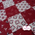 ผ้าคอตตอนไทย 100% 1/4 ม.(50x55ซม.) ลายตารางขาวแดง ธีมสมอเรือ