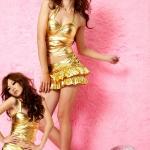 co012 ชุดเซ็กซี่ ชุดคอสเพลย์ ชุดพริตตี้ ชุดแดนซ์สีทอง เสื้อคล้องคอและกระโปรงคะ
