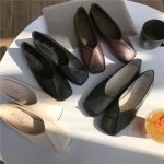 *Pre Order* รองเท้าแฟชั่นสไตล์ญี่ปุ่น หนังพียู สีดำ/ขาว/เขียว/น้ำตาล size 35-39