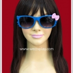 แว่นตาคิตตี้ กรอบสีน้ำเงิน โบว์ชมพู เลนส์ดำ Fancy Cosplay Glasses