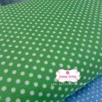 ผ้าคอตตอน 100% 1 เมตร พื้นสีเขียว ลายจุดใหญ่สีขาว