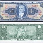 ธนบัตรประเทศบราซิลชนิดราคา 10 CRUZEIROSใหม่ ยังไม่ใช้