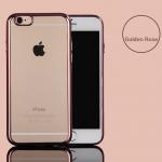 เคสไอโฟน 7Plus (TPU CASE) เคสนิ่มกรอบใสขอบทองชมพู