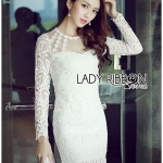 Lady Nana Sweet Classic Body Con Lace and Tulle Dress in White