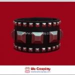 สร้อยข้อมือพังค์ Punk Wristband ตอกหมุดเหลี่ยมใหญ่และเล็กสีนิเกิลรมดำ