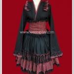 เดรสยูกาตะโกธิคโลลิต้า ลายสก๊อตสีแดง Red Gingham Gothic Lolita Yukata Dress