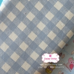 ผ้าคอตตอนลินิน 1/4ม.(50x55ซม.) ลายตาราง โทนสีฟ้า