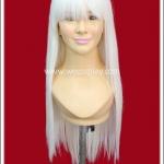 วิกผมคอสเพลย์ สีขาวนม ยาวตรง มีหน้าม้า Milky White Cosplay Wig
