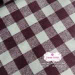 ผ้าคอตตอนลินิน 1/4ม.(50x55ซม.) ลายตารางสีน้ำตาลเข้ม
