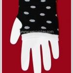 ถุงมือพังค์ สีดำ ลายจุดขาว Punk Black and White Polka Dots Gloves