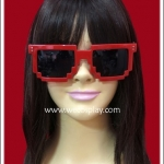 แว่นตาพิกเซล สีแดง เลนส์ดำ Fancy Cosplay Glasses