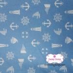 ผ้าคอตตอนไทย 100% 1/4 ม.(50x55ซม.) พื้นสีฟ้า ลายสมอเรือ