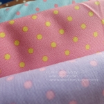 ผ้าคอตตอนลินิน 1/4ม.(50x55ซม.) พื้นสีชมพูส้ม ลายจุดสีเหลือง