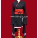 ชุดกิโมโนแบบสั้น แขนยาวสีดำ สกรีนลายผีเสื้อ Long-Sleeved Black Short Kimono
