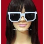 แว่นตาพิกเซล สีขาว เลนส์ดำ Fancy Cosplay Glasses