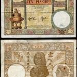 ธนบัตรอินโดจีน รหัส P 51d ชนิด100 ไพแอสเตอร์ ปี 1925-39 ใช้แล้ว