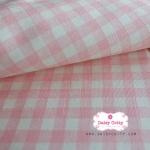 ผ้าคอตตอนลินิน 1/4ม.(50x55ซม.) พื้นสีครีม ลายตารางสีชมพูหวาน