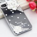 เคสไอโฟน 4/4s กรอบใสสีดำประดับเพชรและดอกกุหลาบขาว
