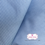 ผ้าคอตตอนไทย 100% 1/4 เมตร(50x55ซม.) ลายตารางเล็กสีฟ้าเข้ม