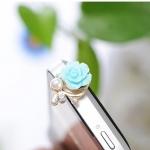 จุกเสียบไอโฟน ดอกไม้มุกสีฟ้า