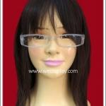 แว่นตาพลาสติกอย่างดี แบบเหลี่ยม กรอบสีขาวเนื้อขุ่น Fancy Cosplay Glasses