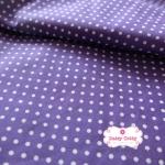 ผ้าคอตตอน 100% 1/4 ม.(50x55ซม.) พื้นสีม่วง ลายจุดสีขาว