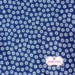 ผ้าคอตตอนไทย 100% 1/4 เมตร สีน้ำเงิน ลายดอกไม้สีขาว