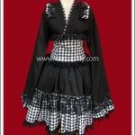 เดรสยูกาตะโกธิคโลลิต้า ลายสก๊อตสีขาวดำ Black Gingham Gothic Lolita Yukata Dress