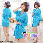 kkm033 ชุดนอน ชุดคลุม เสื้อคลุมสีฟ้า ผ้านิ่มลื่น เนื้อผ้าดี พร้อมจีสตริง สวยคะ