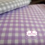 ผ้าคอตตอนไทย 100% 1/4เมตร (50x55ซม.) ลายตาราง โทนสีม่วง