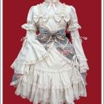 เดรสโกธิคโลลิต้า เมซองลายดอกไม้ สีเทา Grey Maisonette Floral Print Gothic Lolita Dress
