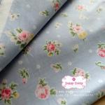 ผ้าคอตตอน 100% 1/4 ม.(50x55ซม.) พื้นสีฟ้า ลายดอกกุหลาบ