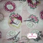 ผ้าคอตตอนลินิน 1/4ม.(50x55ซม.) พื้นสีชมพู ลายดาวประกายสีขาว