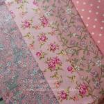 Set 4 ชิ้น : ผ้าคอตตอนไทย โทนสีชมพู 3 ลาย +ผ้าแคนวาสสีชมพู ลายจุด แต่ละชิ้นขนาด 27.5 × 50 ซม.