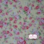 ผ้าคอตตอนไทย 100% 1/4 ม.(50x55ซม.) พื้นสีเหลืองอ่อน ลายดอกกุหลาบแดงชมพู