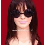 แว่นตาพลาสติก แบบกลม กรอบสีดำ เลนส์ดำ Fancy Cosplay Glasses