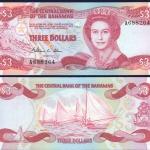 ธนบัตรประเทศบาฮามาสBAH-44 ชนิดราคา 3 DOLLARS (ดอลลาร์)ใหม่ ยังไม่ใช้